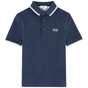 Big Kids Short Sleeve Core Polo Shirt in Navy