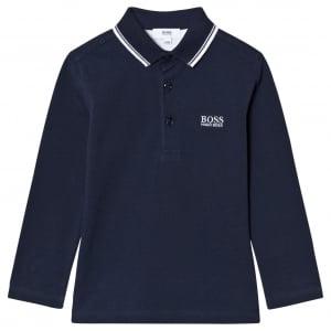 Boss Kids Big Kids Long Sleeve Polo in Navy