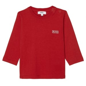 Boss Kids Newborn Long Sleeve Tee in Red