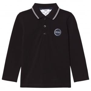 Boss Kids Long Sleeve Polo in Black