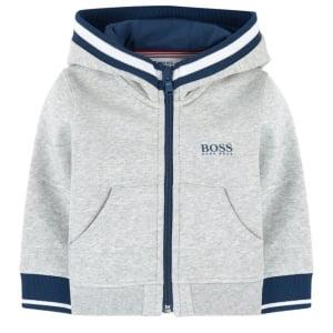 Boss Kids Boss Zip Up Sweatshirt in Grey