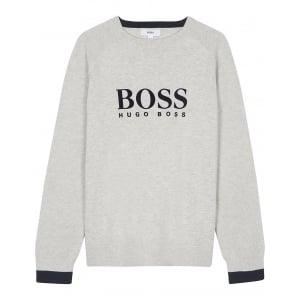 Boss Kids Big Kids Boss Pullover Sweatshirt in Grey