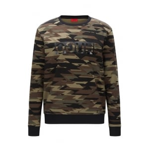 Driggs Camouflage-Print Sweatshirt in Dark Green