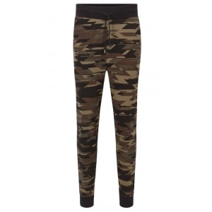 Dilitary Camouflage-Print Tracksuit Bottoms in Dark Green