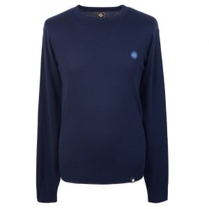Pretty Green Crew Neck Knitted Jumper in Navy