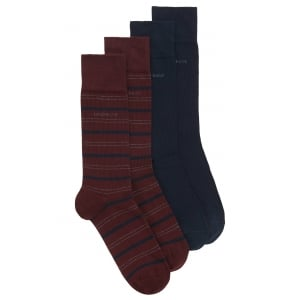 Boss Black 2 Pack RS Stripe Socks in Red