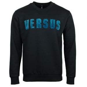 Versace Versus Front Colour Logo Sweatshirt in Black