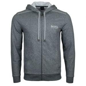 Boss Black Hooded Jacket Loungewear in Charcoal
