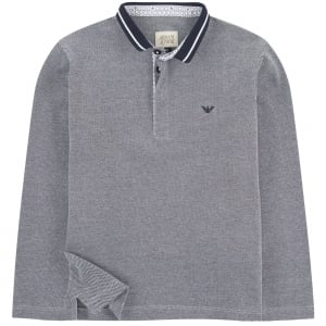 Armani Junior Mandarin Polo Shirt in Navy
