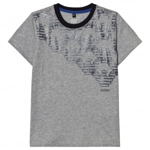 Armani Junior All Over Logo T-Shirt in Grey