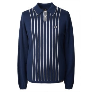 Pretty Green Striped Knitted Polo Top in Navy