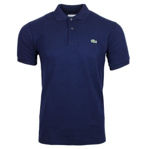 Ribbed Polo Shirt in Navy