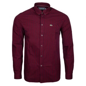 Lacoste Check Shirt in Red