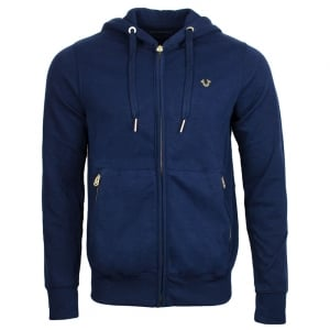 True Religion Gold Detail Hoodie in Navy