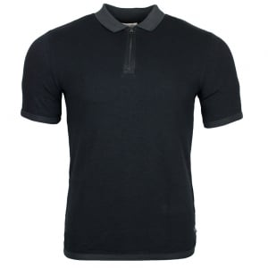 Zip Polo Top in Black