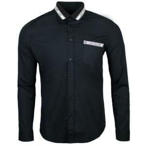 Polo Collar Shirt in Black