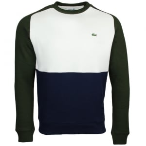 Lacoste Colour Block Sweatshirt in Beige, Khaki and Navy