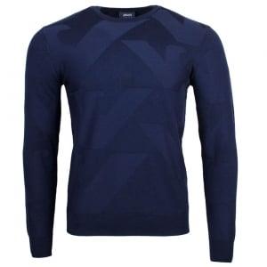 Armani Jeans Logo Pullover Knitwear in Navy