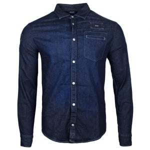 Armani Jeans Denim Shirt in Dark Wash