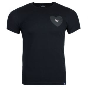 Armani Jeans Silver Logo T-Shirt in Black