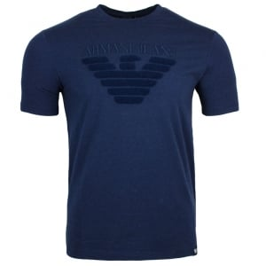 Armani Jeans Towel Chest Logo T-Shirt in Navy