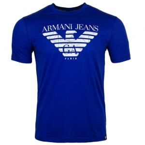 Armani Jeans Map AJ T-Shirt in Navy