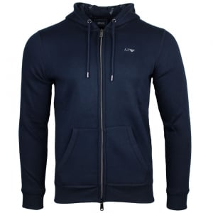 Armani Jeans Logo Hooded Sweatshirt in Navy