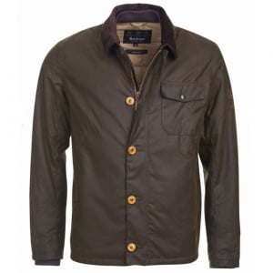 Barbour International Deck Wax Coat in Olive