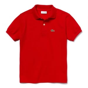 Lacoste Big Kids 16 Years Unisex Core Polo Top in Red