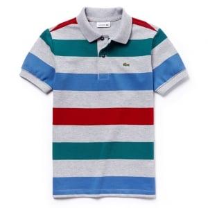 Lacoste Kids 8-12 Years Stripe Polo Top in Grey