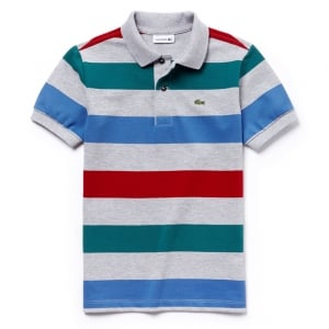 Lacoste Big Kids Stripe Polo Top in Grey