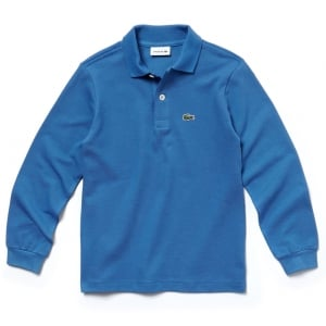 Lacoste Kids 8-12 Years Long Sleeve Core Polo Top in Blue