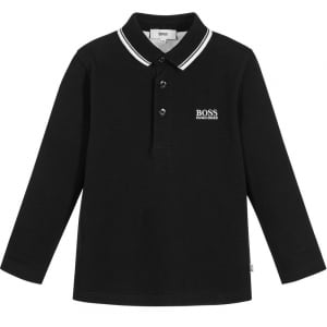 Long Sleeve Polo Top in Black
