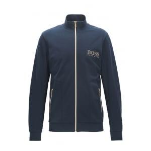 Loungewear Gold Zip Jacket in Dark Blue
