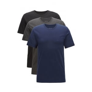 3 Pack T-Shirts in Black, Charcoal and Navy