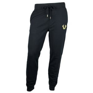 True Religion Gold Print Jogging Bottoms in Black