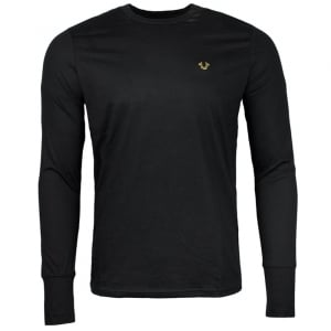 True Religion Long Sleeve Gold Logo T-Shirt in Black