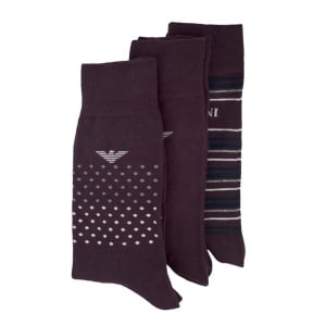 Emporio Armani Underwear Sock Set in Dark Red