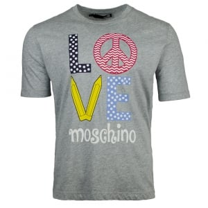 Love Moschino Spotted Logo T-Shirt in Grey