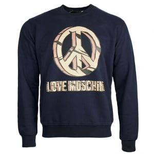 Love Moschino Yellow Logo Sweatshirt in Navy
