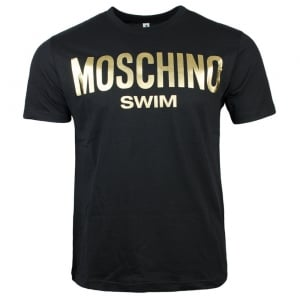 Moschino Swim Gold Swim Logo T-Shirt in Black