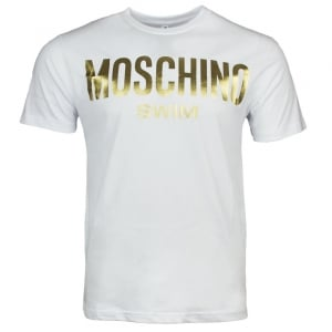 Moschino Swim Gold Swim Logo T-Shirt in White