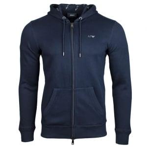Armani Jeans Logo Hood Sweatshirt in Navy