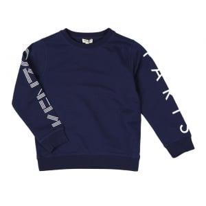 8-12 Years Sleeve Logo Sweatshirt in Navy