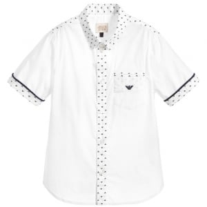 Armani Junior Logo Print Shirt in White
