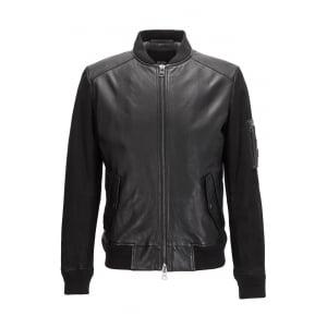 Jixx Leather Bomber Jacket in Black