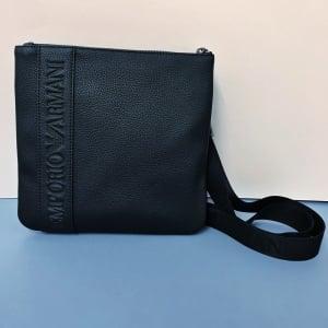 Emporio Armani Debossed Logo Cross Body Bag in Black