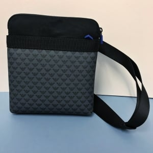 Emporio Armani Print Pocket Cross Body Bag in Black/Grey