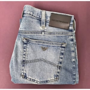 "Emporio Armani J21 34"" Long Leg Regular Jeans in Washed Light Blue"