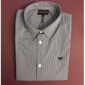Emporio Armani Checkered Shirt in Navy